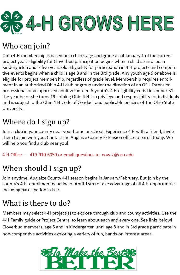 How to join 4-H in Auglaize County